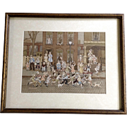Sharmon, Gouache Watercolor Painting, Chicago City Block With People In Street Works on Paper Signed by Artist