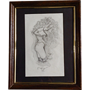 Ray Suoza, Erotic Surreal Pencil Drawing Genie in Smoke Coming Out of Lamp, Works on Paper Signed by Artist
