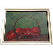 Lorine Herndon, Watercolor Painting The Apple Basket Works on Paper Signed by Atist