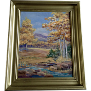 Dorothy Van Kolken, Oil Painting Fall Meadow at the Foothills, Signed by Artist Painted on Masonite Board