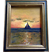 Joyce Swenson (Rain), Sailboat in the Sunset Oil Painting on Canvas Panel Board Signed by the Artist 1977