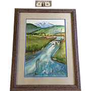 June Carbone, Watercolor Painting, The Symphony Of The River Signed By Colorado Artist