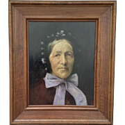 WH, Antique Oil Painting European Woman Portrait Painted on Board Monogrammed by Artist 1898
