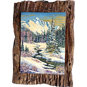 H. L. Dean, Small Oil Painting of an Alpine Valley Painted on Carved Wood Plank Signed by Artist