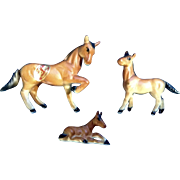 Vintage Bone China Miniature Brown Horses Made in Japan Animal Figurine Set - NO CHIPS