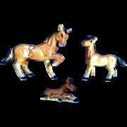 Vintage Bone China Miniature Brown Horses Made in Japan Animal Figurine Set - NO CHIPS