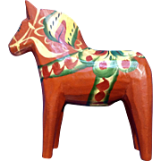 Vintage Swedish Dala Horse Carved Hand Painted Wood by Nils Olsson. Folk Art Figurine 4""