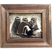 A Enriquez Oil Painting On Board Three Sitting Indians In Blankets Signed By Artist