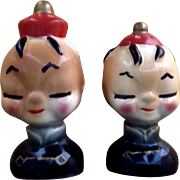 Mama San Vintage Oriental Men Salt & Pepper Shakers Adorable Mid- Century Figurines Japan