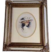 B Brown, Watercolor Painting Victorian Lady Portrait Works on Paper Signed by Artist
