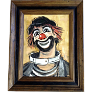 June De Nio Rigler (1921-2011) Clown With Red Nose And Hair, Acrylic Painting Signed by Iowa Artist