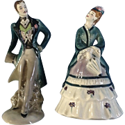 Vintage Goldscheider April Showers and Yankee Doodle Dandy Pair  Porcelain Figurines By Peggy Porcher 1940-1950