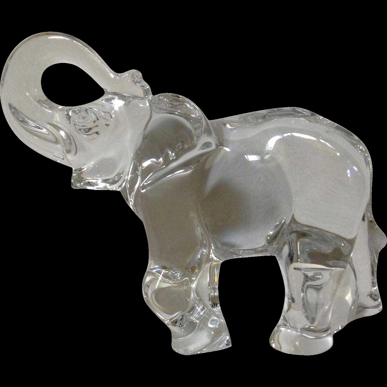 Baccarat France Crystal Trunk Up Large Elephant Glass