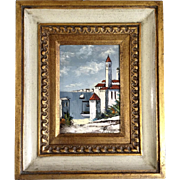 Reina, Oil Painting on Board, Mediterranean Coast View From Town, Signed by Artist