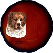 Antique Taylor Smith Taylor Mark 1908-1915 Dog Saint Bernard China Collectible Souvenir Plate Max, North Dakota