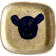 Early American Primitive Ceramic Yellowware Pottery Dish With a Happy Black Lamb Face Folk Art Square Plate Signed