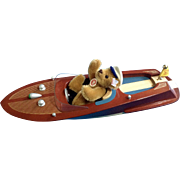 Steiff Teddy Bear and Motor Boat Set Style: EAN 037405 Discontinued Limited Edition of 2006 Stuffed Plush Made in Germany