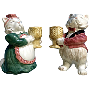 Fitz & Floyd Candle Holders Kittens of Knightsbridge 1988 Discontinued Cat FF Figurines