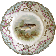 """Antique Carl Tielsch Fish CT Germany Porcelain Luncheon Plate 8-1/2"""" Hand Painted Gold Trim 1900-1909"""