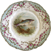 "Antique Carl Tielsch Fish CT Germany Porcelain Luncheon Plate 8-1/2"" Hand Painted Gold Trim 1900-1909"