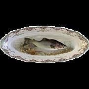 "Antique Carl Tielsch Fish CT Germany Porcelain Serving Platter 21-1/2"" Hand Painted Gold Trim 1900-1909"