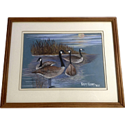 Nancy Nelson, Geese Gouache Watercolor Painting Works on Paper Signed By Artist 1986