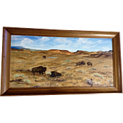 Georgia Tomsheck, Buffalo Roaming The Prairie Oil Painting On Canvas Signed By Artist