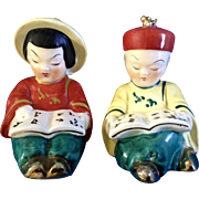 Adorable Asian Boy and Girl Reading Salt & Pepper Shakers Made in Japan Mid-Century Ceramic Figurines
