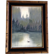 D Barnard, Oil Painting A Lone Duck On The Lake in a Misty Forest, Signed By Artist