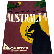 Dana Hildebrand, Australia Qantas Airline Mixed Media Painting on Illustration Board Signed by Artist