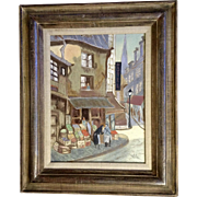 European Street Scene Corner Market and Hotel, Oil Painting on Canvas Signed by Artist