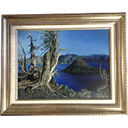 Lauralie Barrett, Oil Painting, Photo Real Wind Scared Pine tree At Crater Lake And View Of Wizard Island Signed by Organ Artist