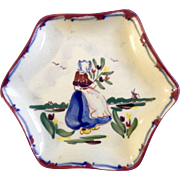 Vintage Dutch Girl Holding Tulips Hand Painted Small dish BVK Holland E-355 With Windmill.