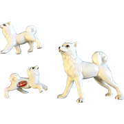 Vintage Bone China Miniature Husky Dog family Japan Mid-Century Figurines