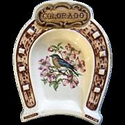 Vintage Treasure Craft Horseshoe Shaped Colorado State Souvenir Dish