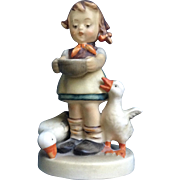 Be Patient, Goebel Hummel Figurine #197 Girl Feeding Ducks FULL BEE TMK-2 1955 Circle C W. Goebel Germany