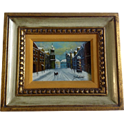 Small Russian Oil Painting Primitive Of A Town Street Signed By Artist