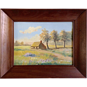 Leudeman, Oil Painting, Countryside Cottage Signed by Artist