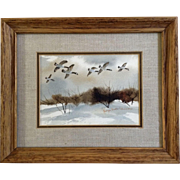 Georgia Anne Drake Edmondson (1932-2013), Geese Flying Over Brush, Original Watercolor Painting Works on Paper, Signed by Colorado Artist
