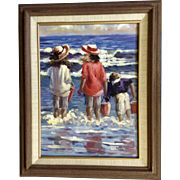 Wright, Oil Painting Going Clamming At The Sea, Children at the Beach, Signed by Artist