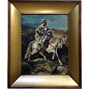 Jessica H Gibson, Oil Painting on Artist Board Bedouin Shepherd Warrior On Arabian Horse Signed by Artist