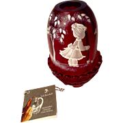 Nancy Fenton Mary Gregory Cranberry Fairy Candle Light  American Glass Hand Painted by Sue Jackson