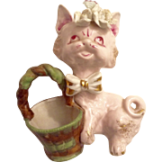 Mid-Century Wales Japan Pink Floral Cat with Basket Porcelain Animal Planter Figurine with Gold Highlights