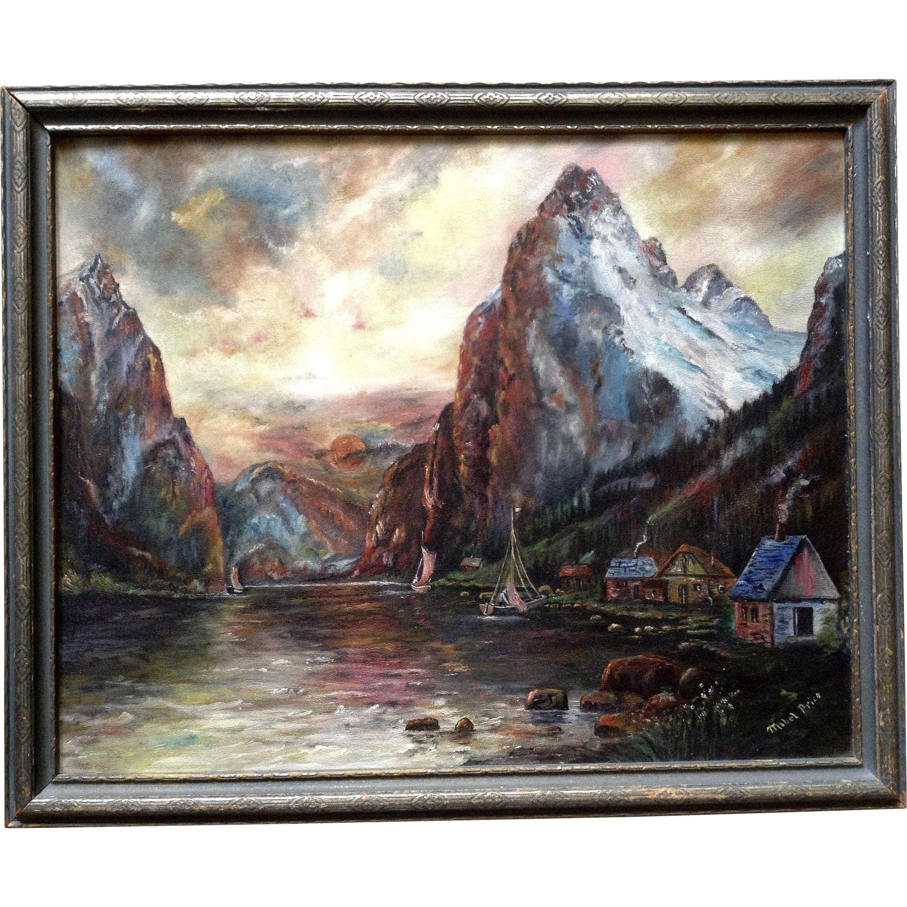 Mabel e price sailboats on high mountain lake oil for Oil paint price