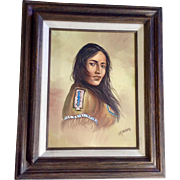 I Q Maro, Oil Painting on Canvas, Beautiful Native American Indian Maiden Signed by Artist