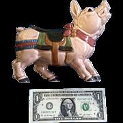 Rare Carousel Pig Quon - Quon Japan 1970-1980's Ceramic Figurine