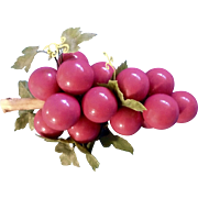 Vintage Pink Colored Grape Cluster on Driftwood Mid Century Acrylic Lucite