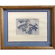 Marsha K Howe, Numbered Limited Edition Etching Print, Killer Whales, Sea Mammals, Orca 42/150 Signed by Listed Artist