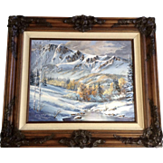 Jenny Smith Dooley, Oil Painting Snowy Mountain Valley in the Early Fall Signed Member of the League of Southwest Artist