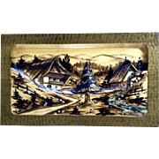 Black Forest Germany Carved Wood Hand Painted Folk Art Picture 3D Bavaria Alps